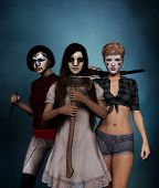 Sister Of Clowns,portrait Of A Killer Clowns Women With Weapon,3d Rendering poster