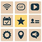 Media Icons Set With Setting, Media, Animation And Other Star Elements. Isolated  Illustration Media poster
