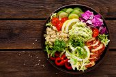 Buddha Bowl Dish. Healthy Balanced Lunch With Quinoa, Grilled Chicken Meat, Lettuce Salad, Pepper, C poster