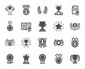 Award Icons. Set Of Winner Medal, Victory Cup And Laurel Wreath Award Icons. Reward, Certificate And poster