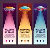 Ufo Vertical Banners. Set Of Vertical Long Templates. poster