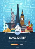 Language Trip, Tour, Travel. Learning Languages. Vector Illustration With Hand-draw Doodle Elements  poster