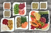 Healthy diet food for weight loss with vegetables, fruit, salads, supplement powders, lean meat and  poster