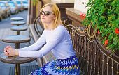 Still Waiting Him. Woman Sits Alone Cafe Terrace Urban Background Defocused. Girl Sit Alone Cafe Wai poster