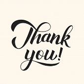 Thank You Calligraphy Hand Lettering. Shabby Retro Vector Illustration. Easy To Edit Template For We poster