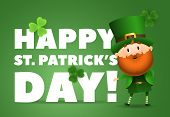 Happy St Patricks Day Lettering With Leprechaun In Hat. Saint Patricks Day Greeting Card. Typed Text poster