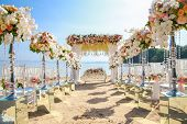 Wedding Set Up On Beach. Beautiful Tropical Outdoor Wedding Party On Beach poster