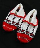Hand Knitted Red-white Booties Socks,multi-colored Booties Socks,anatolian Handicrafts, Turkey poster