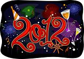 pic of new years celebration  - New Year Themed Illustration Featuring Colorful Fireworks - JPG