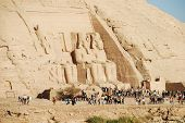 image of aswan dam  - Near the southern Egypt city of Abu Simbel are huge statues of Ramses II which were moved to avoid flooding from the High Aswan Dam that formed Lake Nasser - JPG