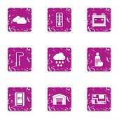 Movement Icons Set. Grunge Set Of 9 Movement Icons For Web Isolated On White Background poster