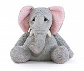 picture of elephant ear  - Sad elephant soft toy with pink ears - JPG