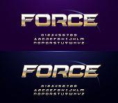 Elegant Sport Silver And Golden Metal Chrome Alphabet Regular And Italic Font. Typography Modern Gol poster