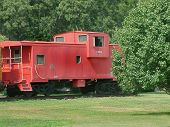 stock photo of caboose  - The caboose from a train permanently parked somewhere in Tennessee - JPG