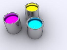 pic of paint pot  - Three pots of of paint cyan yellow and magenta CYMK - JPG