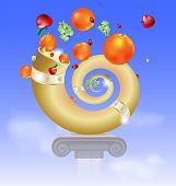 pic of horn plenty  - in the sky on the abstract basis is golden horn of plenty - JPG