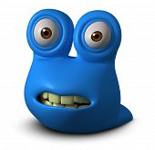 image of slug  - 3 d cartoon cute blue bug monster - JPG