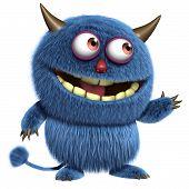 pic of bigfoot  - 3 d cartoon cute blue furry alien - JPG