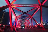 picture of arch foot  - Steel structure bridge close - JPG