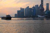 Shanghai Bund Landmark Urban Landscape At Sunrise Skyline poster