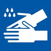 foto of epidemic  - Wash hands sign on blue background  - JPG