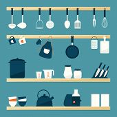 stock photo of food preparation tools equipment  - 16 Kitchen utensils icon set - JPG