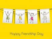 Happy friendship day concept on yellow background.