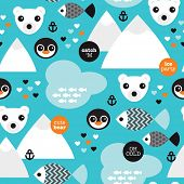 image of north-pole  - Seamless winter wonderland penguin fish and polar bear illustration background pattern in vector - JPG