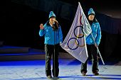 INNSBRUCK, AUSTRIA - JANUARY 13 Christina Anger takes the olympic oath for the athletes during the o