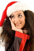 Fashionable Woman Wearing Christmas Hat