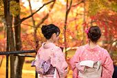 KYOTO - NOVEMBER 19: Women in traditional attire view fall foliage at Eikando Temple November 19, 20