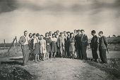 RAWICZ, POLAND, CIRCA THIRTIES - vintage photo of group of people outdoor, Rawicz, Poland, circa thi