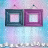 picture of christening  - Wooden frames for a wedding christening with white beautiful pearls - JPG