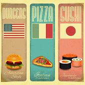 stock photo of japanese flag  - Set of Vertical Vintage Menu Card for Fast Food Pizzeria and Sushi in Retro Style - JPG