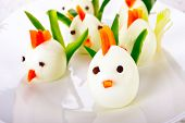 stock photo of boil  - Chickens made from hard boiled eggs - JPG