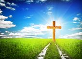 picture of bible story  -  way walking towards a cross  - JPG