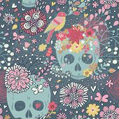 Mexican concept background with flowers, skulls and birds. Concept tattoo theme wallpaper. Seamless