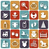 pic of pacifier  - Set of baby flat icons with long shadows - JPG