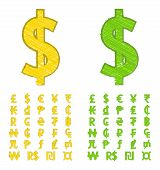 stock photo of won  - Set of doodle currency symbols of the world - JPG