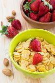 Delicious And Healthy Breakfast With Strawberry And Cornflakes