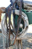 stock photo of split rail fence  - Well used coil of rope - JPG