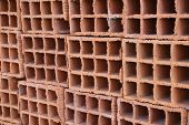 A Row Of Hollow Clay Bricks - Background
