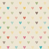 stock photo of marriage decoration  - Valentine colorful retro seamless hearts vector pattern paper - JPG