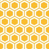 stock photo of honeycomb  - Vector illustration of seamless geometric pattern with honeycombs - JPG