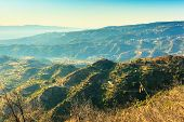 stock photo of messina  - Wonderful view on strait of Messina from Aspromonte in Calabria - JPG