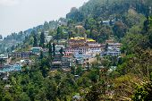 stock photo of darjeeling  - Darjeeling Town from the Top of Mountain - JPG