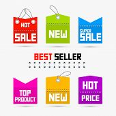stock photo of backround  - Colorful Sale Discount Tags Labels Isolated on White Backround - JPG