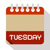 pic of tuesday  - Tuesday Vector Paper Calendar Illustration on White Background - JPG