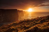 picture of cliffs moher  - Famous cliffs of Moher at sunset in Co - JPG