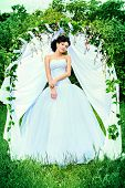 image of wedding arch  - Beautiful elegant asian bride stands under the wedding arch - JPG